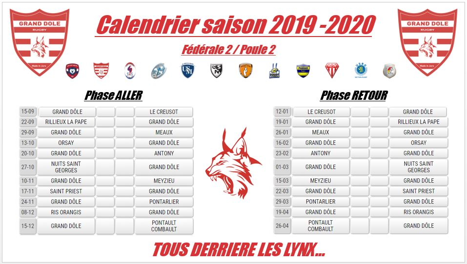 Calendrier Federale 2 2020 2019.Grand Dole Rugby